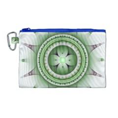 Fractal Mandala Green Purple Canvas Cosmetic Bag (large) by Celenk