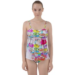 Umbrella Art Abstract Watercolor Twist Front Tankini Set by Celenk