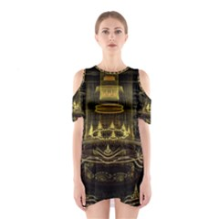 Fractal City Geometry Lights Night Shoulder Cutout One Piece by Celenk