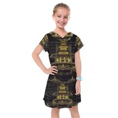 Fractal City Geometry Lights Night Kids  Drop Waist Dress by Celenk