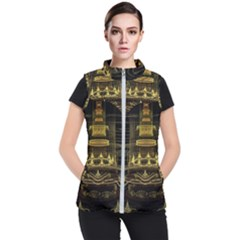 Fractal City Geometry Lights Night Women s Puffer Vest by Celenk