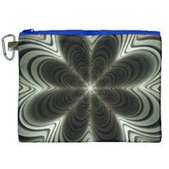 Fractal Silver Waves Texture Canvas Cosmetic Bag (xxl) by Celenk