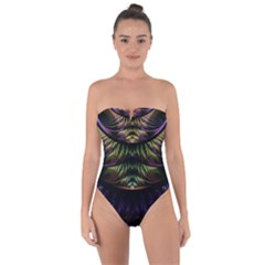 Fractal Colorful Pattern Fantasy Tie Back One Piece Swimsuit by Celenk