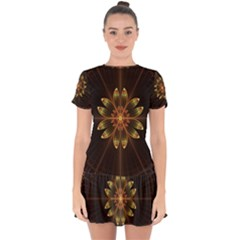 Fractal Floral Mandala Abstract Drop Hem Mini Chiffon Dress by Celenk