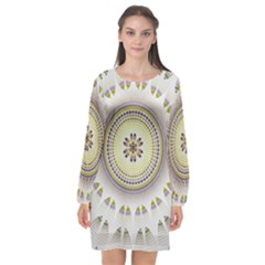 Mandala Fractal Decorative Long Sleeve Chiffon Shift Dress  by Celenk