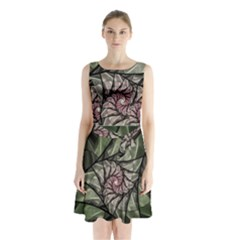 Fractal Flowers Floral Fractal Art Sleeveless Waist Tie Chiffon Dress by Celenk