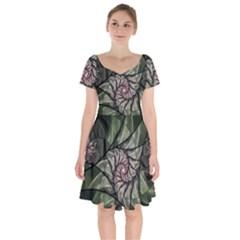 Fractal Flowers Floral Fractal Art Short Sleeve Bardot Dress by Celenk