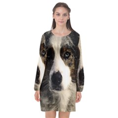 Dog Pet Art Abstract Vintage Long Sleeve Chiffon Shift Dress  by Celenk