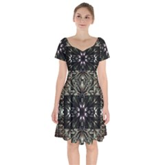 Fractal Design Pattern Texture Short Sleeve Bardot Dress by Celenk