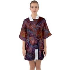 Fractal Red Fractal Art Digital Art Quarter Sleeve Kimono Robe by Celenk
