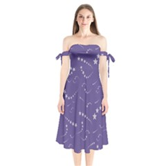 Ultra Violet Stars Shoulder Tie Bardot Midi Dress by greenthanet