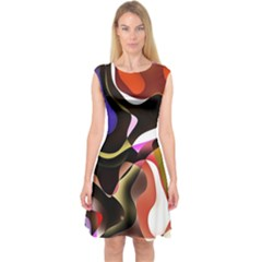 Abstract Background Design Art Capsleeve Midi Dress by Celenk