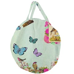 Whimsical Shabby Chic Collage Giant Round Zipper Tote