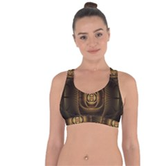 Fractal Copper Amber Abstract Cross String Back Sports Bra by Celenk