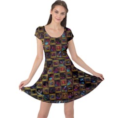 Kaleidoscope Pattern Abstract Art Cap Sleeve Dress