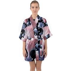 Fractal Art Design Fantasy Science Quarter Sleeve Kimono Robe by Celenk