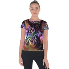 Fractal Colorful Background Short Sleeve Sports Top  by Celenk