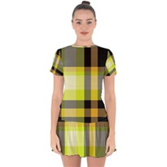 Tartan Abstract Background Pattern Textile 5 Drop Hem Mini Chiffon Dress by Celenk