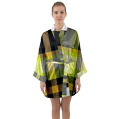 Tartan Abstract Background Pattern Textile 5 Long Sleeve Kimono Robe by Celenk