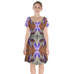Fractal Splits Silver Gold Short Sleeve Bardot Dress by Celenk