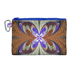 Fractal Splits Silver Gold Canvas Cosmetic Bag (large) by Celenk