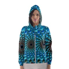 Fractal Art Design Pattern Hooded Wind Breaker (women)