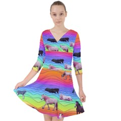 Horses In Rainbow Quarter Sleeve Front Wrap Dress	 by CosmicEsoteric