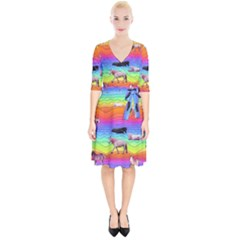 Horses In Rainbow Wrap Up Cocktail Dress by CosmicEsoteric