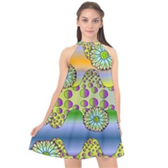 Amoeba Flowers Halter Neckline Chiffon Dress  by CosmicEsoteric
