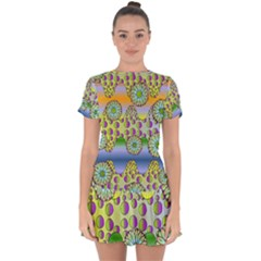 Amoeba Flowers Drop Hem Mini Chiffon Dress by CosmicEsoteric