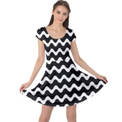 Wave Pattern Wavy Halftone Cap Sleeve Dress