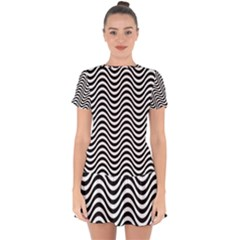 Wave Pattern Wavy Water Seamless Drop Hem Mini Chiffon Dress by Celenk