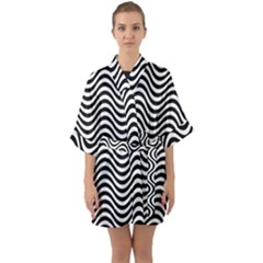 Wave Pattern Wavy Water Seamless Quarter Sleeve Kimono Robe