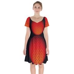 Sphere 3d Geometry Structure Short Sleeve Bardot Dress