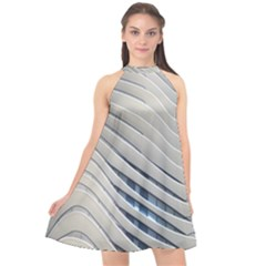 Aqua Building Wave Halter Neckline Chiffon Dress  by Celenk