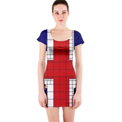 Union Jack Flag Uk Patriotic Short Sleeve Bodycon Dress