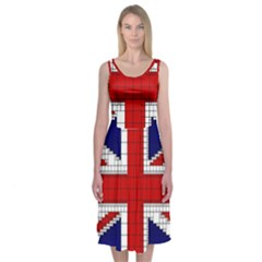 Union Jack Flag Uk Patriotic Midi Sleeveless Dress