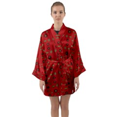 Brown Circle Pattern On Red Long Sleeve Kimono Robe by BrightVibesDesign
