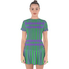 Bright Green Purple Stripes Pattern Drop Hem Mini Chiffon Dress by BrightVibesDesign