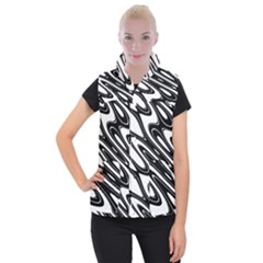 Black And White Wave Abstract Women s Button Up Puffer Vest