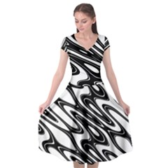 Black And White Wave Abstract Cap Sleeve Wrap Front Dress