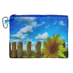 Sunflower Summer Sunny Nature Canvas Cosmetic Bag (xl) by Celenk