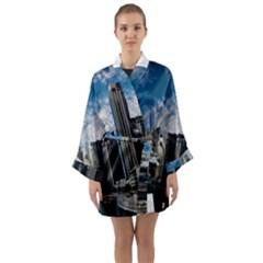 Skyscraper City Architecture Urban Long Sleeve Kimono Robe by Celenk
