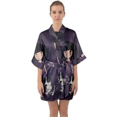 Dolly Girl And Dog Quarter Sleeve Kimono Robe by Valentinaart