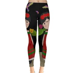 Frida Kahlo Doll Leggings  by Valentinaart