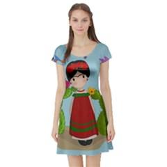 Frida Kahlo Doll Short Sleeve Skater Dress by Valentinaart
