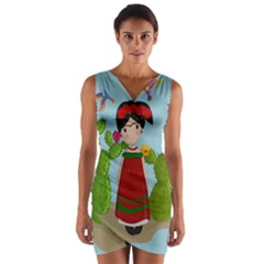 Frida Kahlo Doll Wrap Front Bodycon Dress by Valentinaart