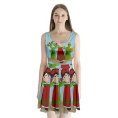 Frida Kahlo Doll Split Back Mini Dress  by Valentinaart