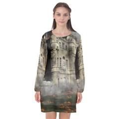 Castle Ruin Attack Destruction Long Sleeve Chiffon Shift Dress  by Celenk