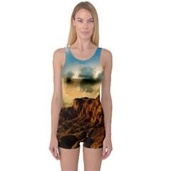 Mountain Sky Landscape Nature One Piece Boyleg Swimsuit by Celenk
